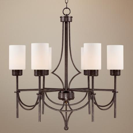 "Contemporary Curves 27"" Wide Oiled Copper Chandelier"