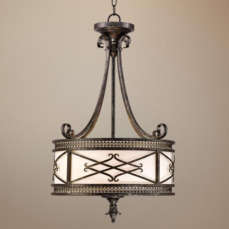 "Traditional 19 1/2"" Wide Bronze Drum Pendant Light"