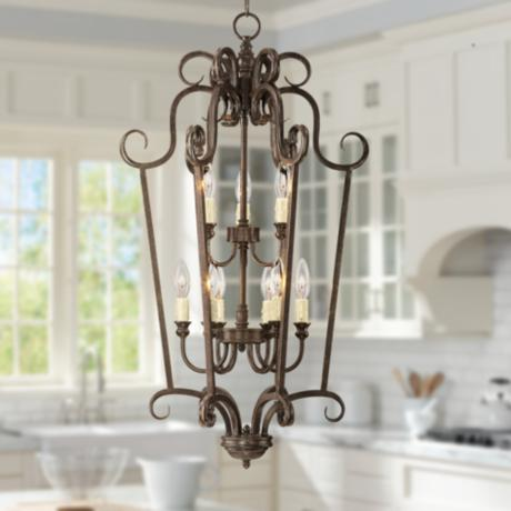 "Traditional Curves 17"" Wide Iron Foyer Pendant Light"