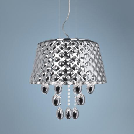 "Possini Euro Bubble Drum 18"" Wide Chrome Glass Pendant Light"