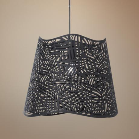 "Possini Euro Wilmington 16"" Wide Cut-Out Black Pendant Light"