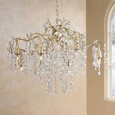 "Possini Euro Branches 31"" Wide Silver Champagne Chandelier"