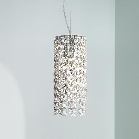"Chrome 5 1/4"" Wide Crystal Mini-Pendant Light"