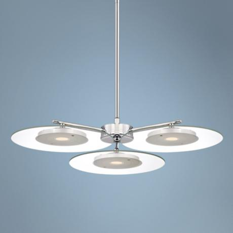 "Possini Euro Design 22"" Clear Glass Disc LED Pendant Light"