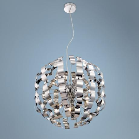 "Possini Euro 24"" Wide Modern Chrome Pendant Light"