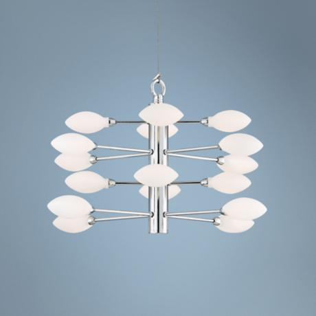 "Four Tier 17"" Wide Oval Frosted Glass Pendant Light"