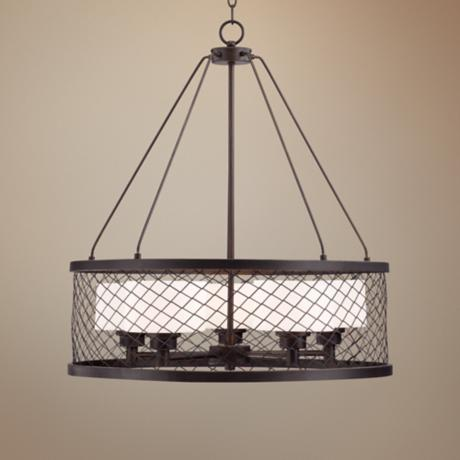 "Caged Opal Glass 24 1/4"" Wide Bronze Pendant Light"