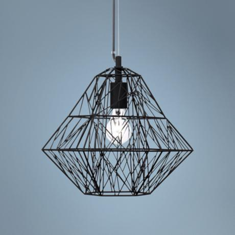 "Possini Euro Diamond Cage 14"" Wide Black Pendant Light"