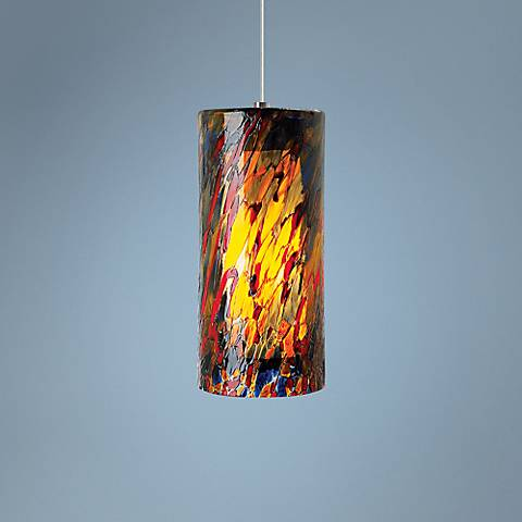 "LBL Abbey Grande 6 1/2"" Wide Blue-Amber-Red CFL Mini Pendant"