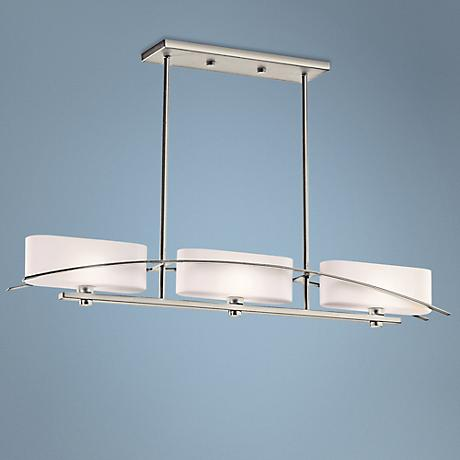 "Suspension Collection 41"" Wide Brushed Nickel Island Pendant"
