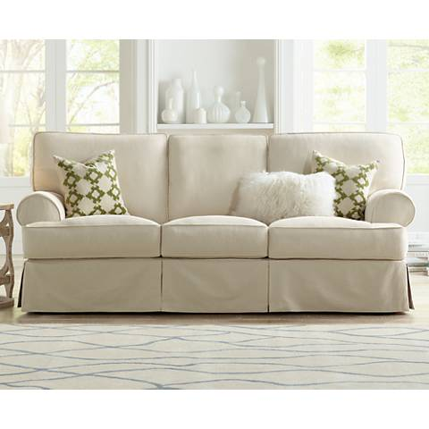 Rachel Classic 87 Quot Wide Natural Slipcover Sofa V9508