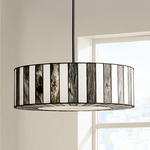 "Tiffany Style 20"" Wide Striped Art Glass Pendant Light"
