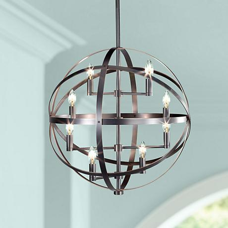 "Robert Abbey Lucy 22"" Wide 8-Light Antique Nickel Pendant"