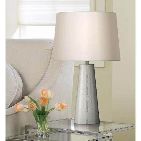 Silver Leaf Hammered Metal Cylinder Table Lamp W0363