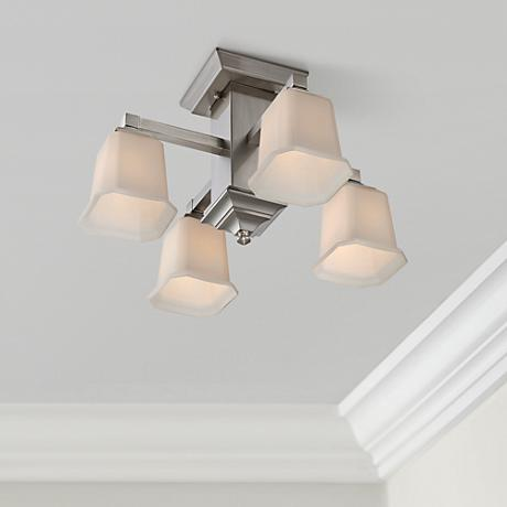 "Quoizel Norwood Semi-Flush 19"" Wide Nickel Ceiling Light"