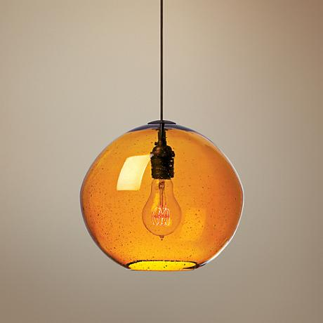 "LBL Isla 9 3/4"" Wide Amber Glass Globe Mini Pendant"