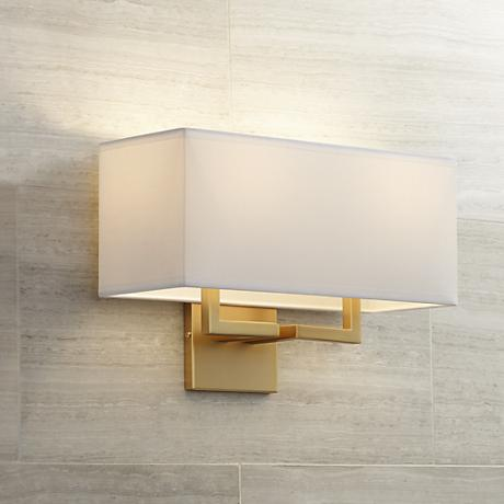 "George Kovacs Rectangle 11"" High 2-Light Gold Wall Sconce"