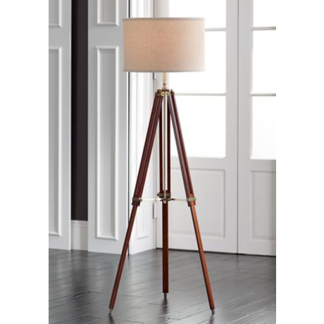 Possini euro cherry finish wood surveyor tripod floor lamp for Surveyors floor lamp wood