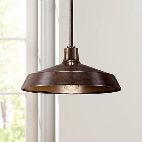 "Warm Bronze 15"" Wide Industrial Pendant Light"