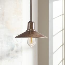 "Warm Bronze 9"" Wide Edison Industrial Mini Pendant Light"