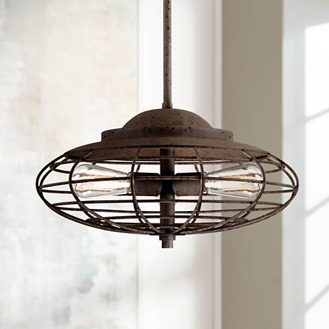 "Metal Cage 18"" Wide Dark Rust Industrial Pendant Light"