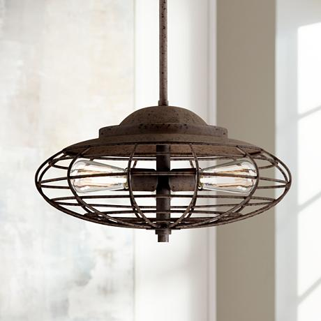Metal Cage 18 Quot Wide Dark Rust Industrial Pendant Light W2425 Lampsplus Com