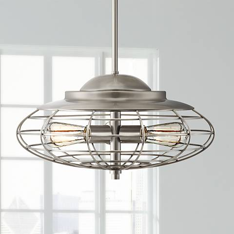 "Metal Cage 18"" Wide Brushed Nickel Industrial Pendant Light"