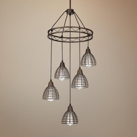"Metal Grid 16"" Wide 5-Light Bronze Chandelier"