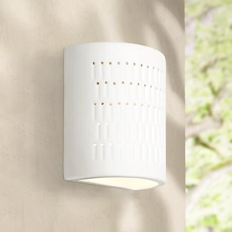 "Zenia 10"" High White Ceramic Outdoor Wall Light"