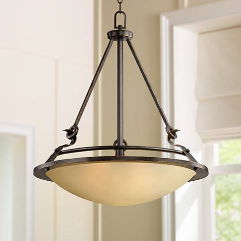 "Bronze 21"" Wide Amber Bowl Pendant Light"