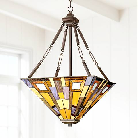 "Jewel Tone 17"" Wide Tiffany Style Pendant Light"