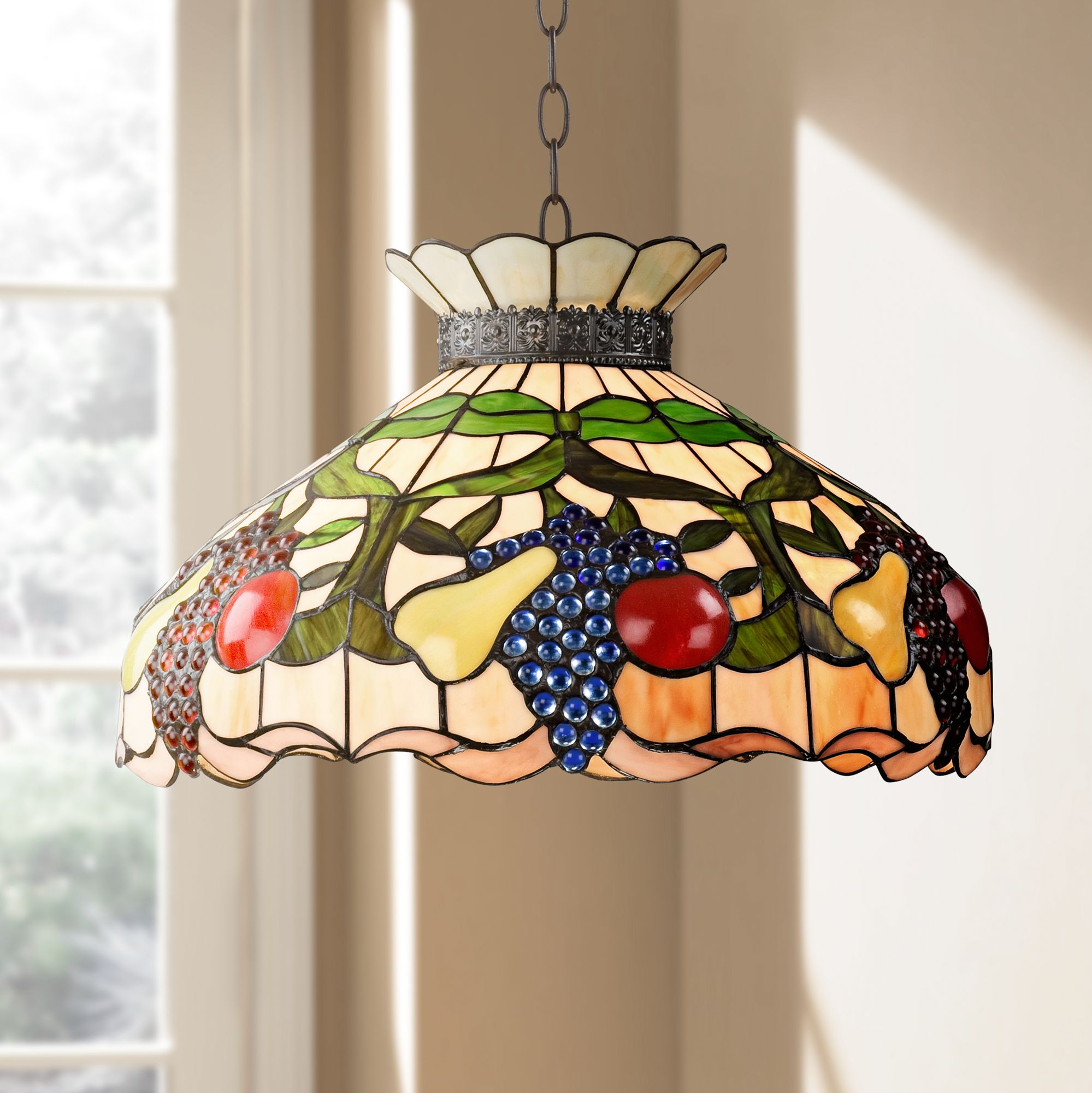 Ripe Fruit 3 Light Tiffany Style Glass Pendant Light
