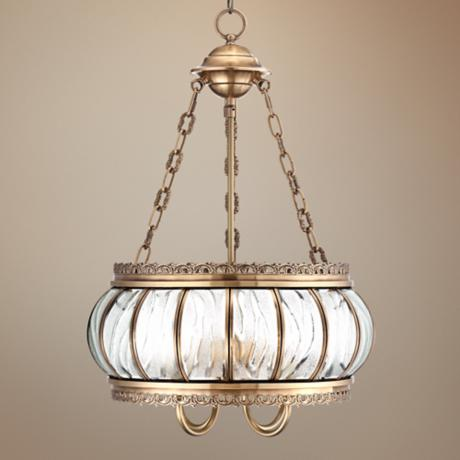 "Global Glass 16"" Wide Brass Pendant Light"