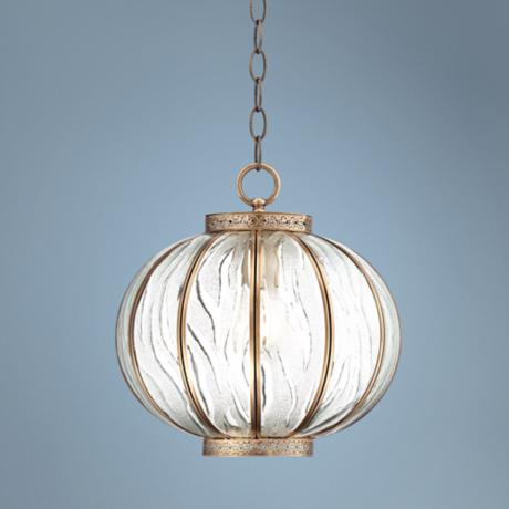 "Global Glass 12"" Wide Brass Mini Pendant Light"