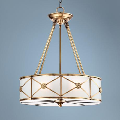 "Possini Mirna Frosted Glass 19"" Wide Brass Pendant Light"