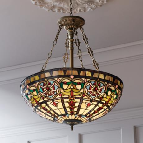 "Ornamental Tiffany Style 24"" Wide Art Glass Pendant Light"