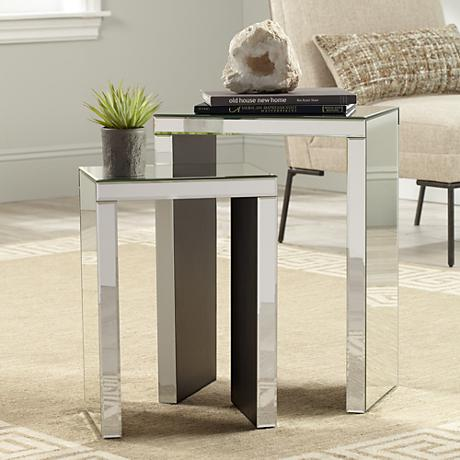 Moderna Set of 2 Mirrored Modern Nesting Tables