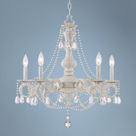 Kathy Ireland Stacey White 5-Light Beaded Crystal Chandelier