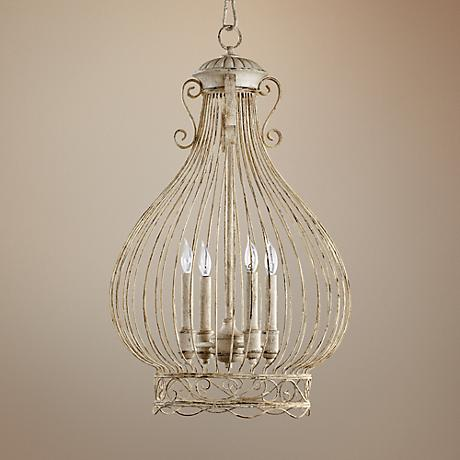 "Quorum Birdcage 18"" Wide Persian White Pendant Light"