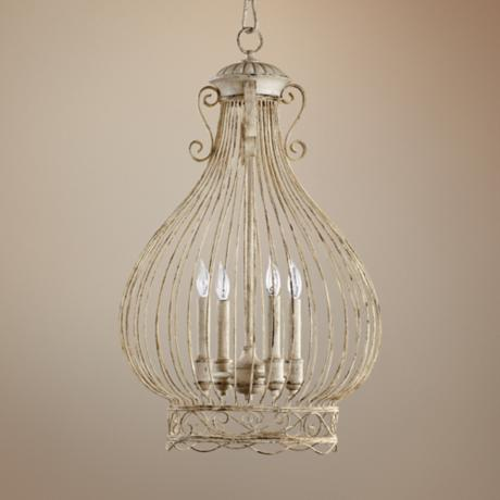 "Quorum Birdcage 4-Light 18"" Wide Persian White Pendant Light"