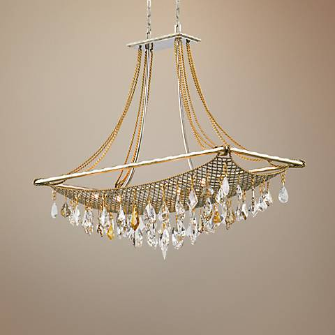 "Corbett Barcelona 38 1/2"" Wide Silver and Gold Pendant Light"