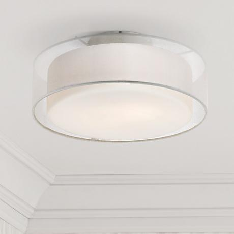 "Opal White Dual Shade 12 1/2"" Wide Ceiling Light"