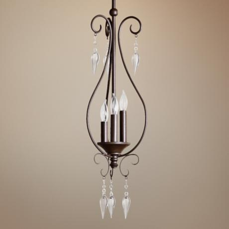 "Quorum Vesta 3-Light 8 1/2"" Oiled Bronze Mini Pendant Light"
