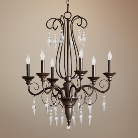 "Quorum Vesta 6-Light 24"" Wide Oiled Bronze Chandelier"