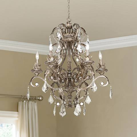 "Kathy Ireland 30"" Wide Metallic Silver Chandelier W5304"