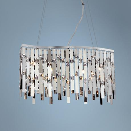 "Possini Euro Wave Rectangle 22 1/2"" Chrome Pendant Light"