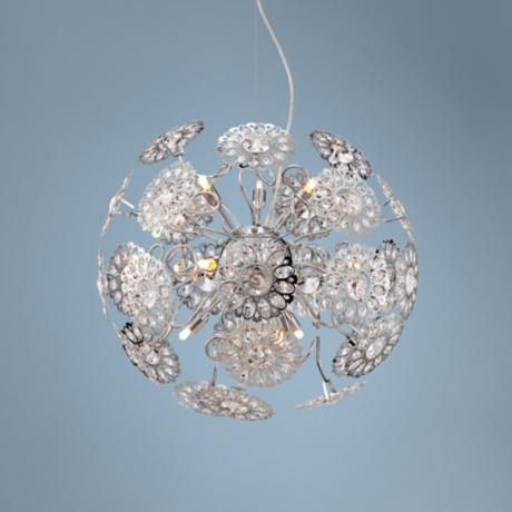 "Possini Euro Floral Sphere 20"" Wide Crystal Pendant Light"