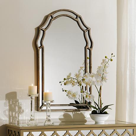 "Uttermost Petrizzi 35"" High Silver Wall Mirror"