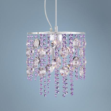 "Violet Crystal 11"" Wide Chrome Pendant Light"