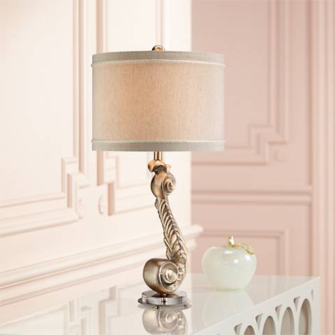 Scroll Silver Leaf Table Lamp